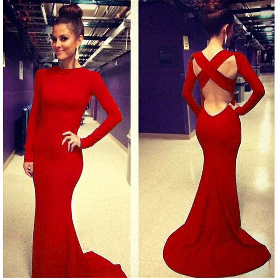 7aa5a3a1051 Celebrity Halter Cut Out Open Back Dress Sexy Strap Cross Back Backless Long  Formal Gown Party Long Sleeve Tunic Dress